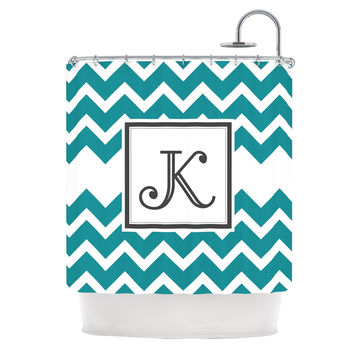 "KESS Original ""Monogram Chevron Teal"" Shower Curtain"