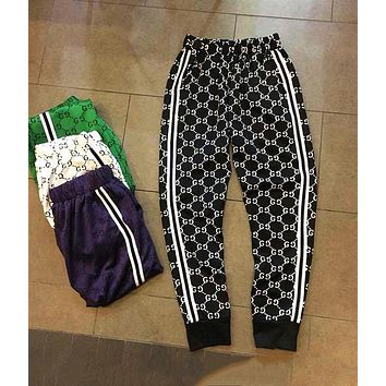 Gucci New Popular Unisex Casual More Logo Print Two Stripe Elastic Waistband Sport Pants Trousers Sweatpants Black