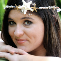 Starfish Wire Headband- Fits All - Over 50 Real Seashells