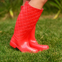 Dancing in the Rain Boots - Red