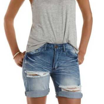 Lt Wash Denim Destroyed Denim Bermuda Shorts by Charlotte Russe