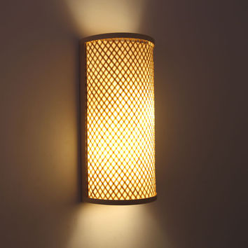 Japanese Style Hand Knitted Bamboo Bedside Wall Lamp Hallway Light Wall Mounted Lamparas Apliques Pared E27 Light Fixture
