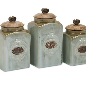 Addison Wooden Lid Ceramic Canisters Set of Three Engraved with Tea Coffee and Sugar