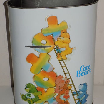 Cheinco Care Bears Metal Trash Can Waste Can
