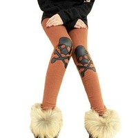 Allegra K Lady Black Skull Cross Detail Knee Part Elastic Waist Leggings Dark Orange XS