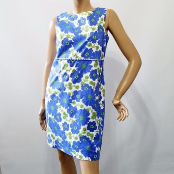 Talbots Petites Blue Poppy Marigold Stretch Summer Dress Sz 12 Made in USA