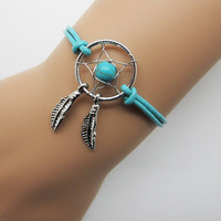 Dreamcatcher Bracelet  / Feather Bracelet /   Blue Bead Feather Bracelet  /Real Leather Bracelet Native American Jewelry