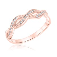 Milgrain Twist Rose Gold Stackable Ring 1/10ctw