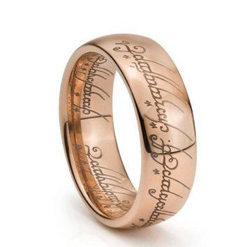 7mm Rose Gold Plated Elvish Script Tungsten Carbide Men & Women Laser-etched Wedding Band Ring