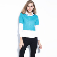 Long Sleeved Pointed Collar Shirt with Crop Sweater