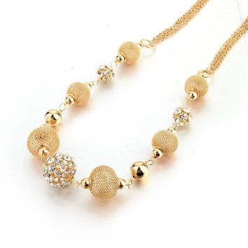 Luxury Gold Silver Chains Necklaces With Hollow Ball Crystal