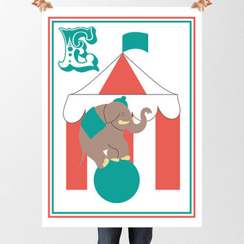 Letter E for Elephant INSTANT DOWNLOAD, Circus Print, Nursery Decor, Baby Gift, Printable Wall Art, E is for Elephant, Circus Tent