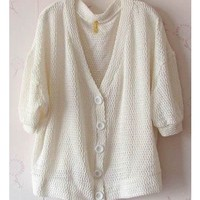 Women Autumn Plain Coloured Loose Bat-wing Sleeve Casual Ivory Cardigan One Size@II0165i $9.81 only in eFexcity.com.