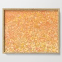 Yellow and orange swirls doodles Serving Tray by savousepate