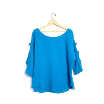 Cut Out COTTON GAUZE Basic Tee Shirt Boho Top Quarter Length Open Sleeves Boxy Layered Blue Scoop Neck Plain Cotton Womens XL Extra Large