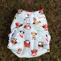 Owl Christmas Cloth pocket diaper one size with Santa, present, reindeer owls; winter diaper with snaps, ready to ship