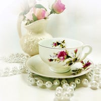 White Pink Teacup Set Moss Rose Pattern for DIY Projects or Vintage Shabby Home Decor