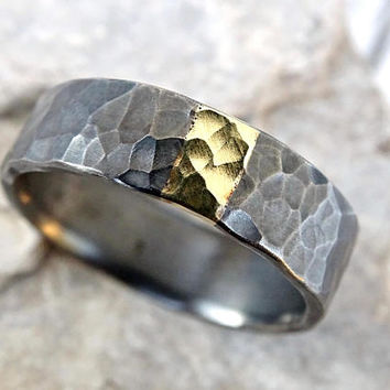 mens wedding band mixed metal, unique mens ring silver gold promise ring, viking wedding ring hammered, cool wedding ring recycled metal