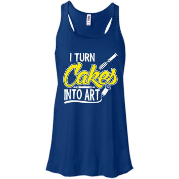 I Turn Cakes Into Art  B8800 Bella + Canvas Flowy Racerback Tank