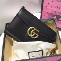 Gucci Fashion Casual Women Leather Metal Chain Crossbody Shoulder Bag Satchel Black G