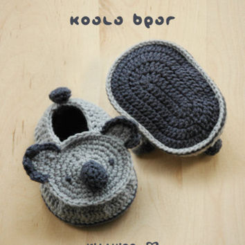 Crochet Pattern Koala Bear : Koala Bear Baby Booties Crochet PATTERN, from meinuxing on ...