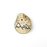 Illustrated Mountains Hazel Wood Slice Token Gift - Wedding Favors, Weddings, Events, Small Gift, Keepsake, Memory, Gift for Best Friend