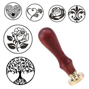 DIY Brass Head Rose Tree Wax Seal Stamp With Wood Handle Ancient Seal Retro Stamp Wedding Invitation Card Antique Stamp Gifts