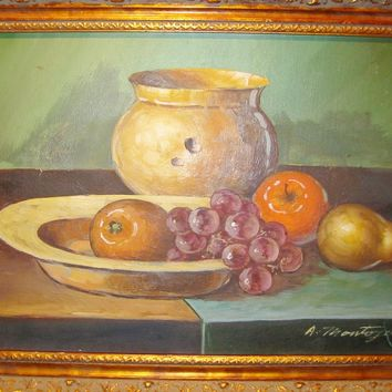 A Montoya Spanish Still Life Fruit Platter Urban Painting On Canvas