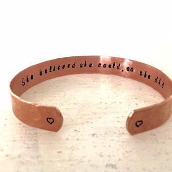 Copper Stamped Cuff Bracelet, Daughters Gift, Sisters Gift, Graduation Gift, She Believed She Could, So She Did, Textured, Customizable
