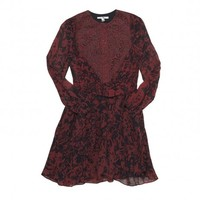 Carven Graffiti Print Dress in Wine & Navy | The Dreslyn
