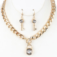 "16"" gold curb chain crystal lock pendant choker necklace 1.25"" key earrings"