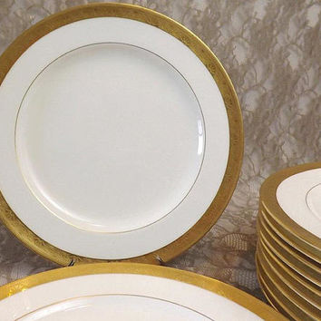 Minton Tiffany & Co Antique Dinner Plates, Set of 11, Gold Encrusted Pinwheel Circle Rims, Porcelain Dinnerware, Wedding Table Serving