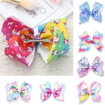 New 8 Inch Newest Big Bowknot Hairpins Girl Barrettes Large Colorful Unicorn Bow Hair Clip Hair Accessories