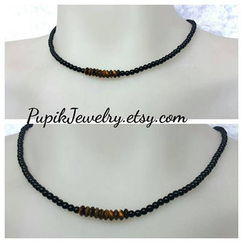ONYX-TIGER EYE Necklace Black Onyx Necklace,Men's Jewelry,Custom Jewelry,Mens Beaded Necklace,Gemstone Necklace,4mm beaded,Yoga Necklace
