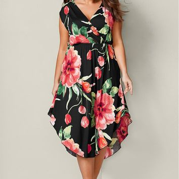 Floral Dress in Black Multi | VENUS