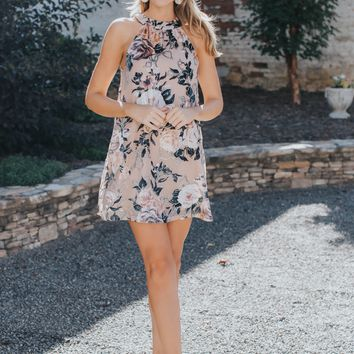 Velvet Sleeveless Dress, Taupe