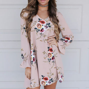 Run The World Taupe Floral Dress