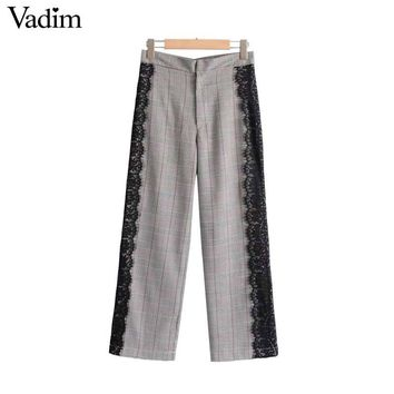 Vadim women vintage lace patchwork plaid pants retro office lady work wear casual autumn ankle length trousers mujer KZ1079