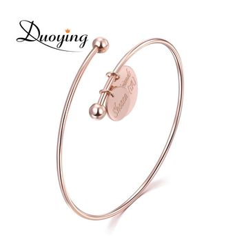 Duoying Custom Name Bangle & Bracelet Double Disc Pendant Personalized Engraved Bracelet for Her Simple Graduation Gift for Etsy