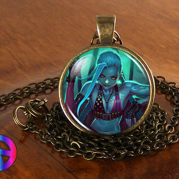 League of Legends LOL Jinx Game Anime Cosplay Necklace Pendant Jewelry Art Gift