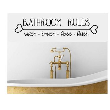 Bathroom Rules, Wall Mural Vinyl Graphic Decal