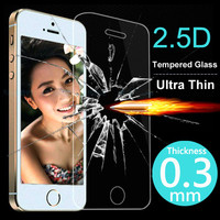2.5D 0.3mm Ultra Thin Tempered Glass Screen Protector Case For iPhone 4 4S 5 5S 5C 6 6S Plus Cover Phone Cases Protective Film