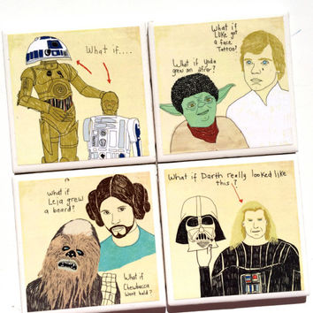Star Wars Ceramic Tile Drink Coasters with Cork Bottom – Set of 4