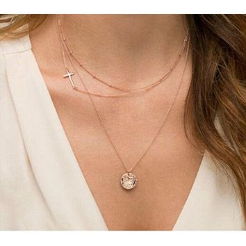 Trendy Gold Three Layer Cross Circle Necklace
