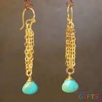 "Chain with blue turquoise, 2-1/2"" Earring Gold Or Silver"
