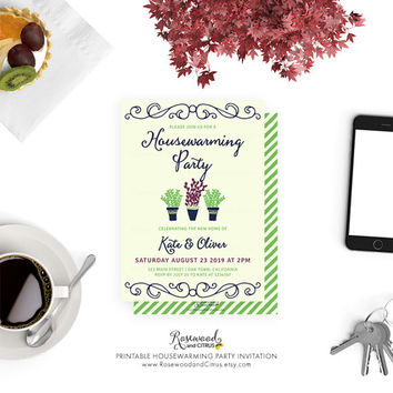 Printable Housewarming Party Invitation, Housewarming Invitation Printable, Potted Plants Housewarming Invite, New Home, House Plants