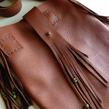 Rustic Fringed Leather Messenger Style Purse