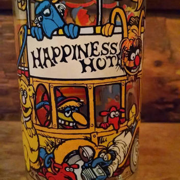 Vintage The Great Muppet Caper McDdonalds Glass, Happiness Hotel Glass