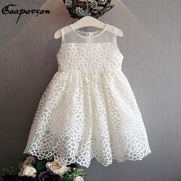 Girls White Dress Summer Princess Floral Dress For Baby Girl With Rhinestone Children Dress Clothing Drop Shipping