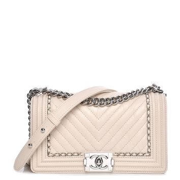 CHANEL Aged Calfskin Chevron Medium Jacket Boy Flap White